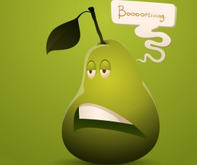 Bored cartoon pear vector