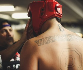 Boxer with tattoo on back Stock Photo