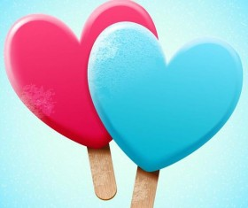 Bright heart shapes ice cream vector illustration 01