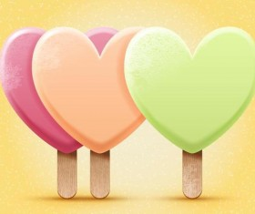 Bright heart shapes ice cream vector illustration 02