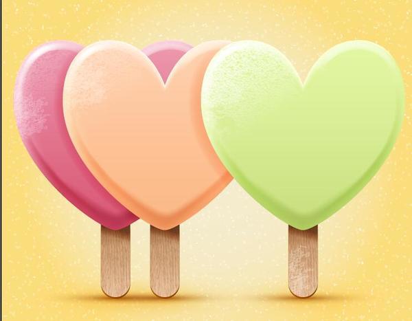 Bright heart shapes ice cream vector illustration 02