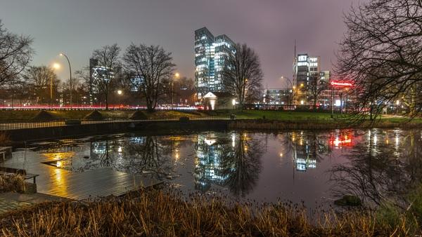 Bustling city night scene Stock Photo