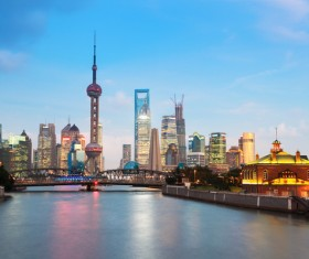 China Shanghai Oriental Pearl Tower at dusk Stock Photo