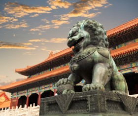 China Travel Forbidden City stone lions Stock Photo