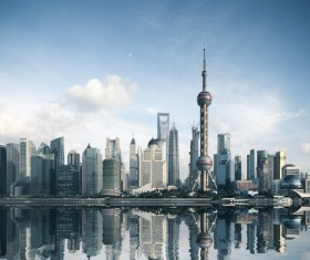 China Travel Shanghai Oriental Pearl Stock Photo