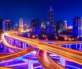 Chinas modern city at night Stock Photo 02
