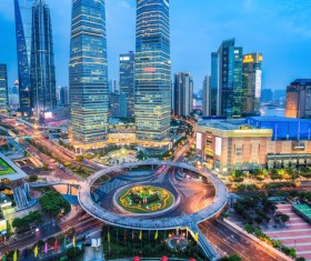 Chinas modern city at night Stock Photo 03