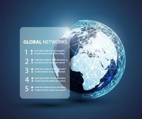Clobal network business template vector 01