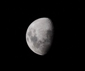 Closeup picture of crescent moon on dark sky Stock Photo