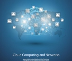 Cloud computer and network business template vector 01