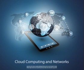 Cloud computer and network business template vector 02