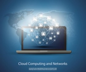 Cloud computer and network business template vector 05