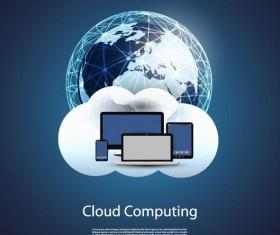 Cloud computer business template vector 01