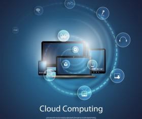 Cloud computer business template vector 02