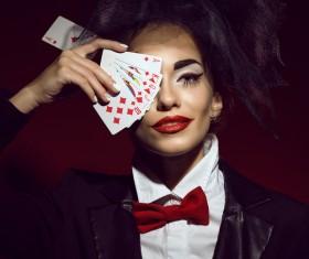 Clown makeup play poker woman Stock Photo 02