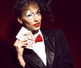 Clown makeup play poker woman Stock Photo 03