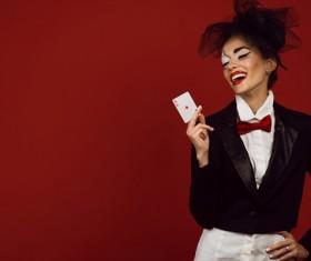 Clown makeup play poker woman Stock Photo 05