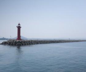 Coast Pier Lighthouse Stock Photo