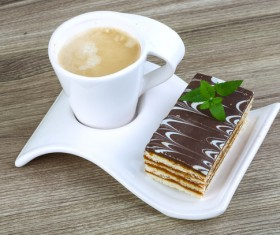 Coffee and Mille feuille Stock Photo