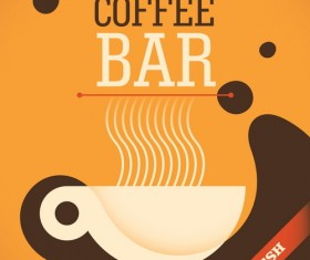 Coffee bar poster retro template vector 01