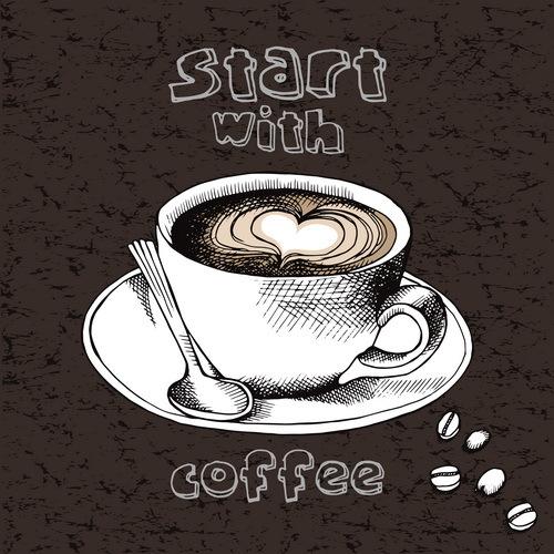 Coffee with start dark vector
