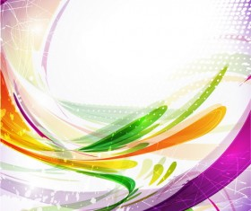 Colored abstract lines with grunge background vector 01