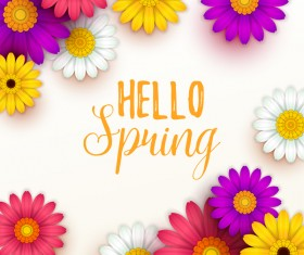Colored flower with hello spring background vectors 01