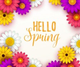 Colored flower with hello spring background vectors 02