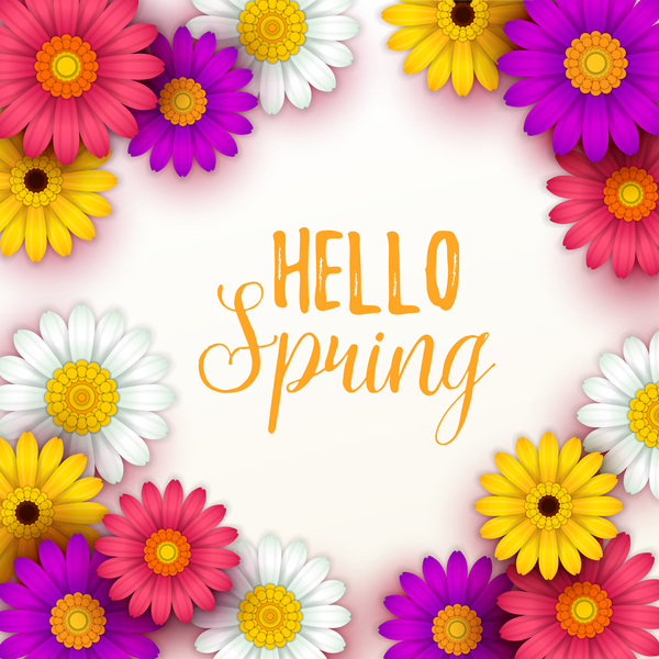 Spring Flower With Green Background Vector 02 Free Download: Colored Flower With Hello Spring Background Vectors 02