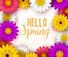 Colored flower with hello spring background vectors 03