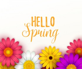 Colored flower with hello spring background vectors 04