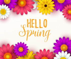 Colored flower with hello spring background vectors 05