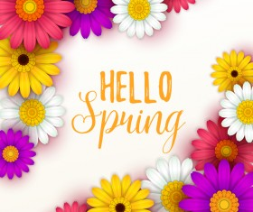 Colored flower with hello spring background vectors 06