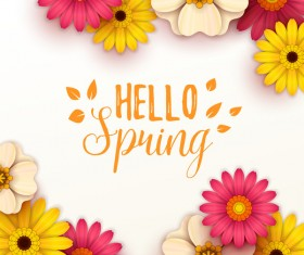 Colored flower with hello spring background vectors 07