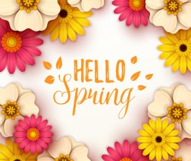 Colored flower with hello spring background vectors 08