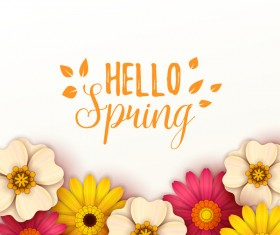 Colored flower with hello spring background vectors 09