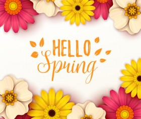 Colored flower with hello spring background vectors 10