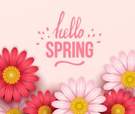 Colored flower with hello spring background vectors 11