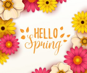 Colored flower with hello spring background vectors 12