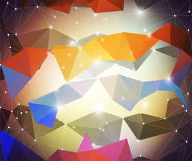 Colored geometric shape with points lines background vector 02