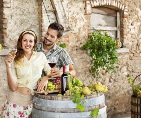 Couples tasting wine Stock Photo 01