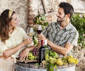 Couples tasting wine Stock Photo 02