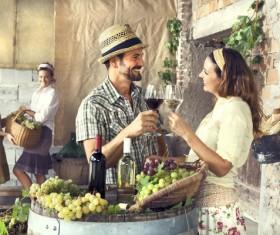 Couples tasting wine Stock Photo 03