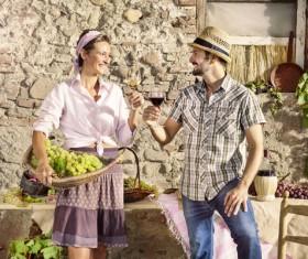 Couples tasting wine Stock Photo 05