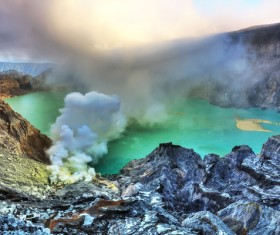 Crater in natural landscape lake Stock Photo 01