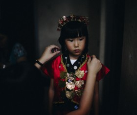 Cute asian girl in traditional costume Stock Photo