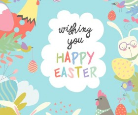Cute cartoon animals frame with easter card 02