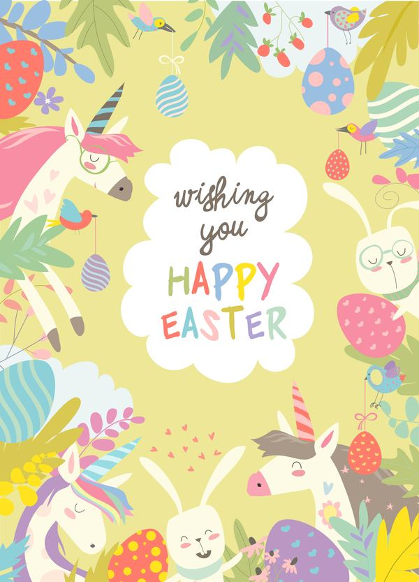 Cute cartoon animals frame with easter card 03