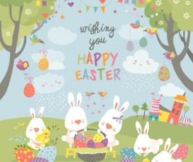 Cute cartoon rabbit with easter card
