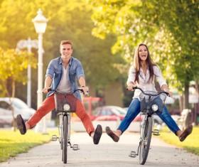 Cyclist couple Stock Photo